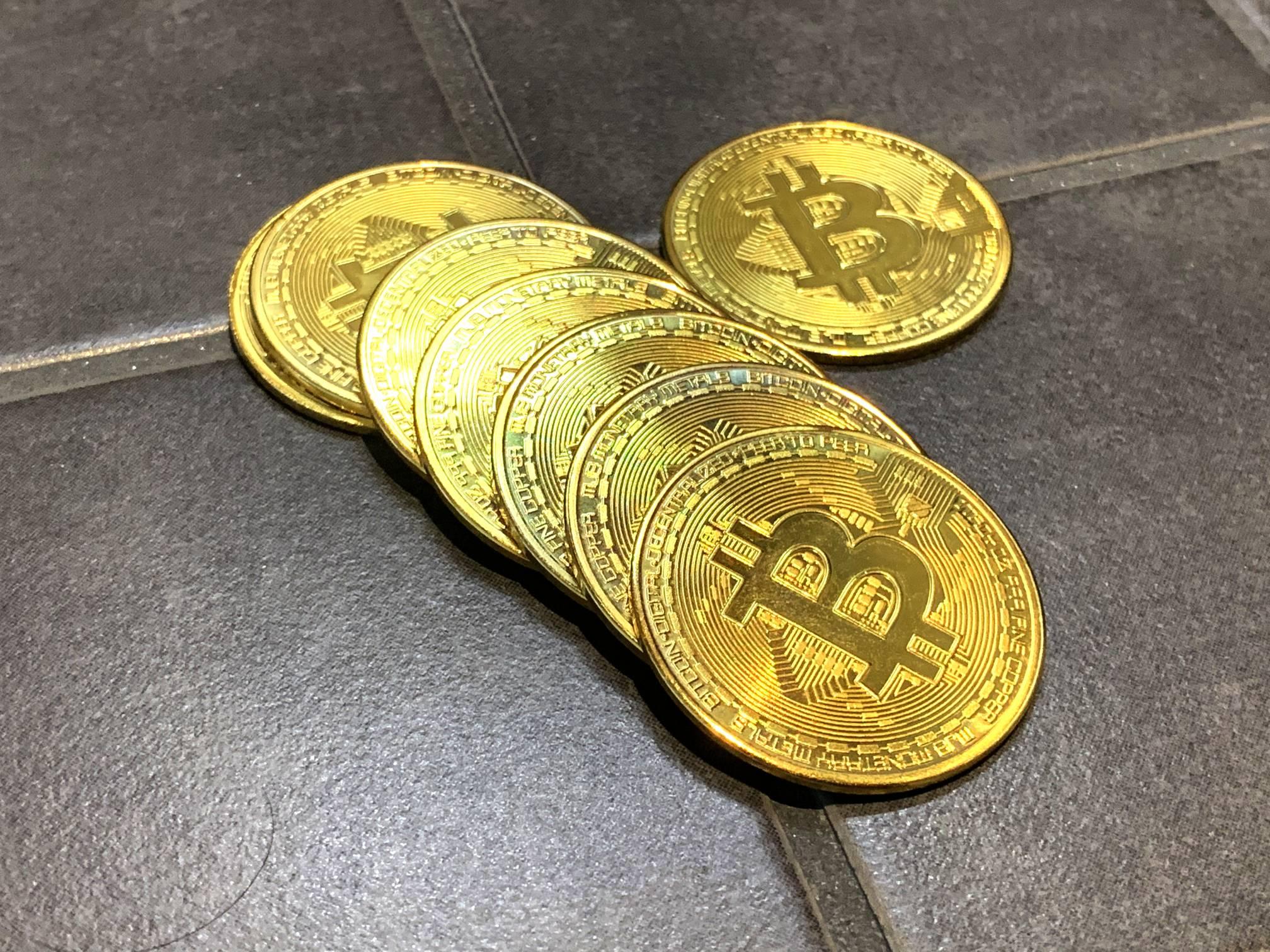 Bitcoins on Ceramic Tile w/ Hair