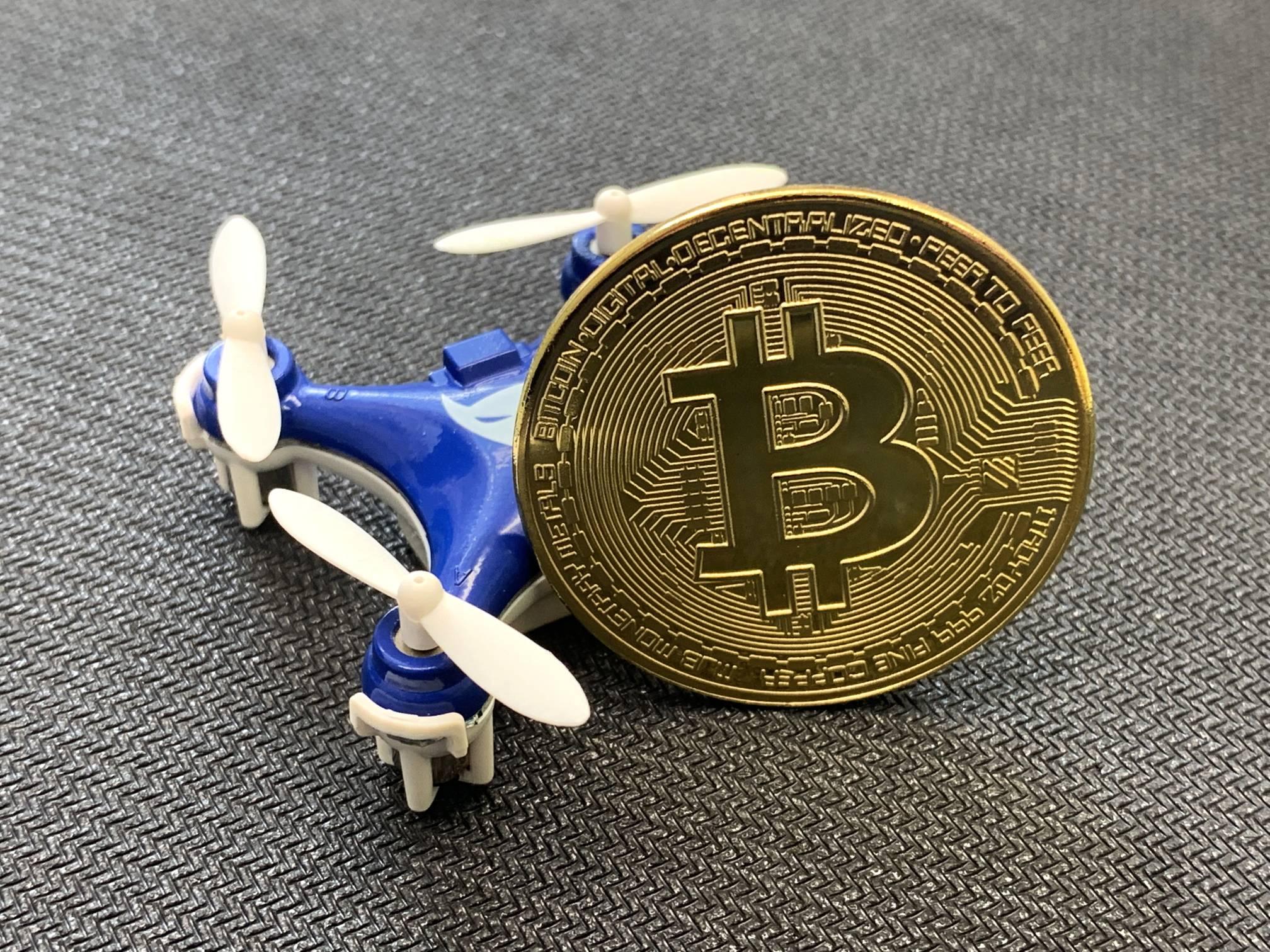 Bitcoin Next to Tiny Drone