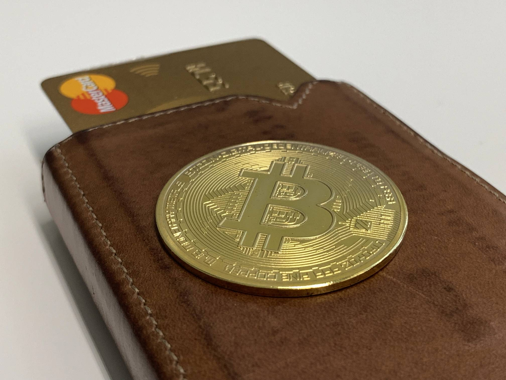 Bitcoin On Brown Leather Card Wallet